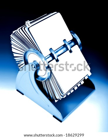Old rotary card 8. Blue version - stock photo