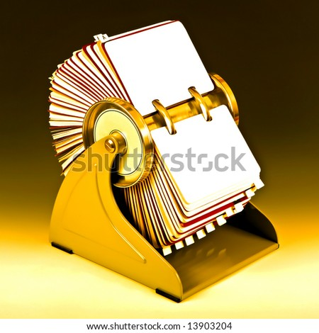Old rotary card 7. Gold version - stock photo