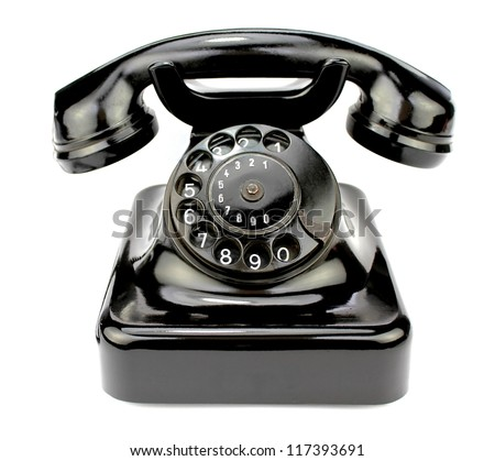 Old rotary phone. Contact icon. - stock photo