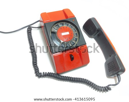 old rotary phone. It's off the hook - stock photo