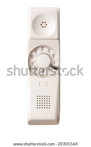 Old rotary phone on white - stock photo