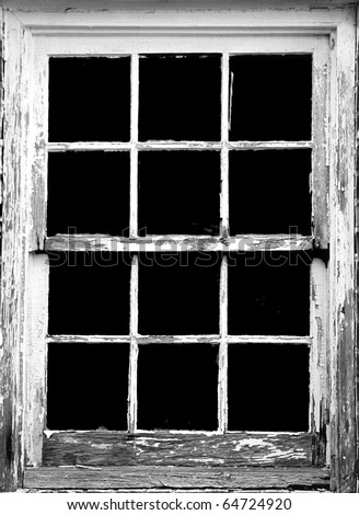 old rotting window frame, toned to black and white - stock photo