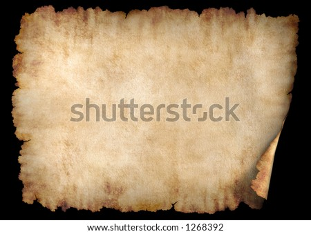 Old rough antique horizontal parchment paper texture background isolated on black - stock photo