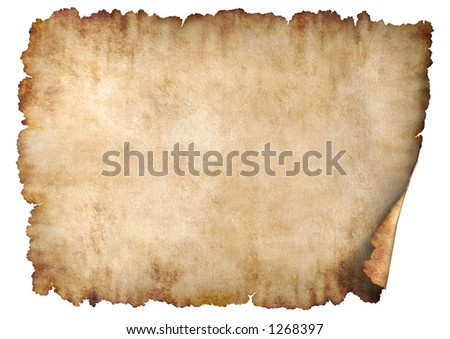 Old rough antique horizontal parchment paper texture background isolated on white - stock photo