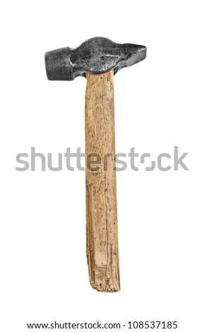 Old Rough Wooden Hammer with Metal Head isolated on White Background