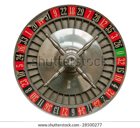 Old Roulette Wheel isolated on white - stock photo