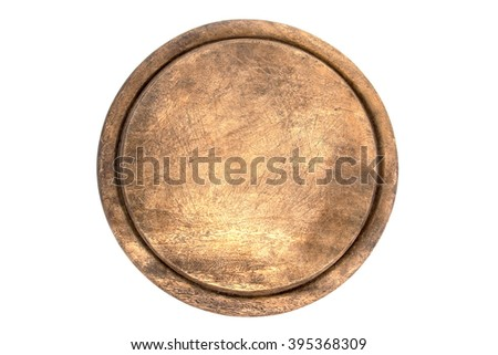 Old round cutting board isolated on white background - stock photo