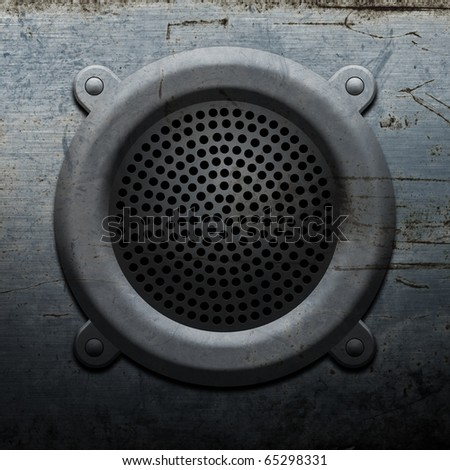 Old round metal microphone - stock photo