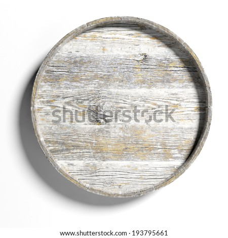 Old round wooden sign isolated on white background  - stock photo