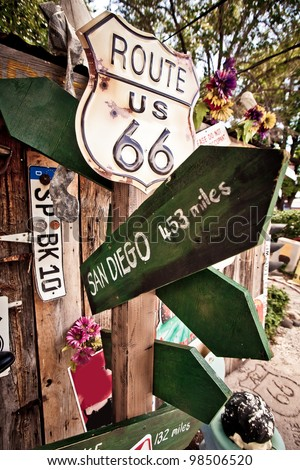 Old Route 66 signs somewhere in desert in Arizona - stock photo