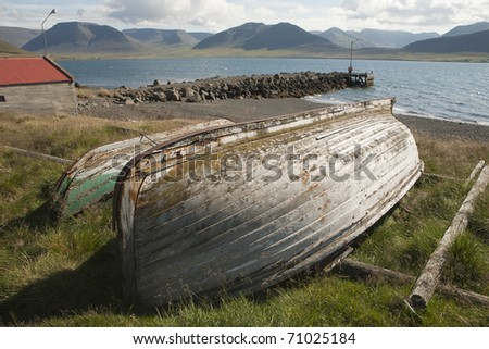 Old Rowboat in Iceland - stock photo