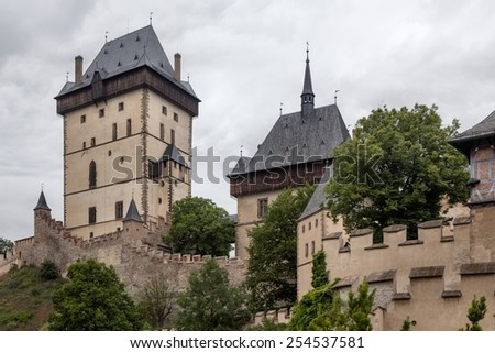 Old royal castle Karlstejn in Czech Republic - stock photo