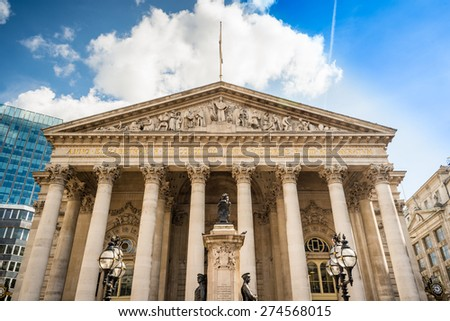 Old Royal Exchange building facade, City of London, financial district.