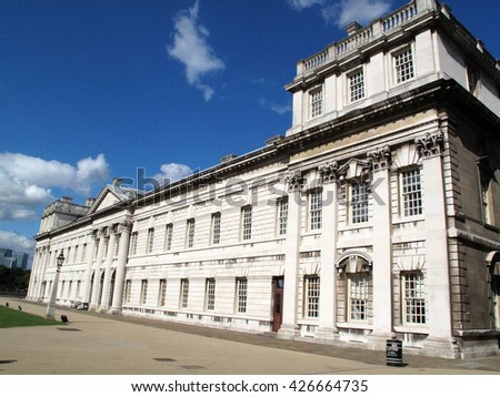 Old Royal Naval College designed by Sir Christopher Wren in Greenwich, England, UK - stock photo