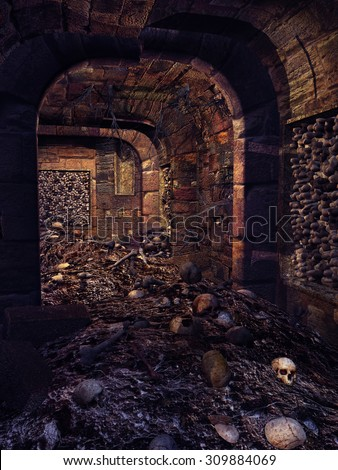 Old ruined crypt with a lot of skulls and bones