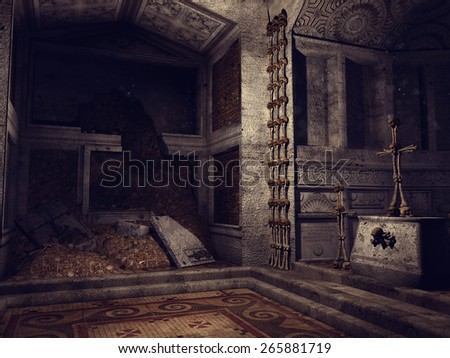 Old ruined crypt with bone crosses and decorations - stock photo