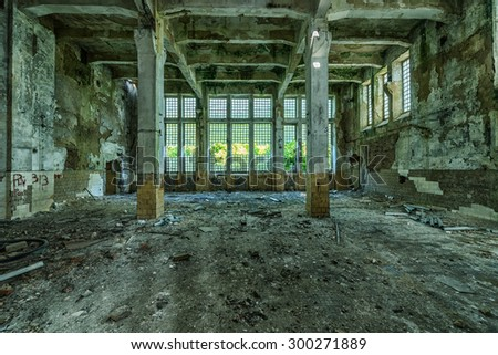 Old ruined factory building, awesome background - stock photo