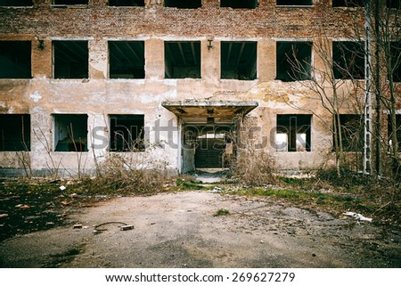 Old ruined house - stock photo