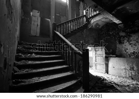 Old ruined staircase - stock photo