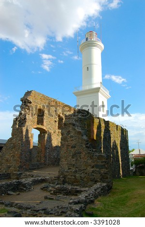 Old ruins and lighthouse