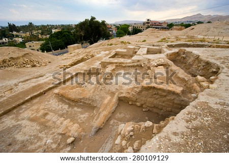 Old ruins and remains in Tell es-Sultan better known as Jericho the oldest city in the world - stock photo
