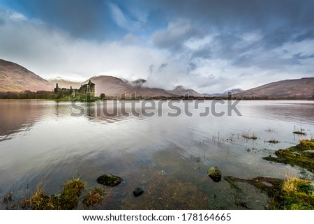Old ruins of a castle on the lake