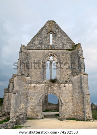 old ruins of a french medieval church,dating back to 11th century,on the french island of ile de re,france,fall 2010.