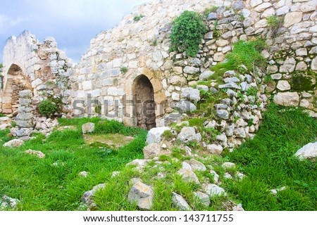 Old ruins of Crusaders fortress in Israel - stock photo