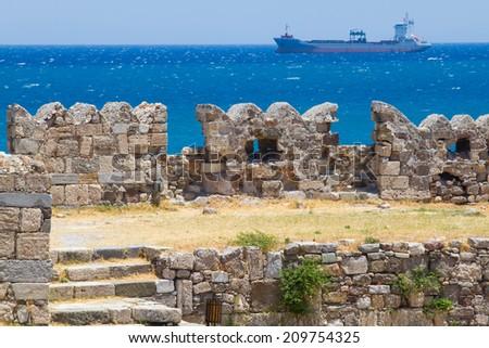 Old ruins of Neratzia, in Kos Town, Kos, Greece - stock photo