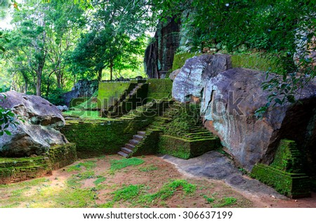 Old Ruins of Sigiriya Castle, Sri Lanka - stock photo
