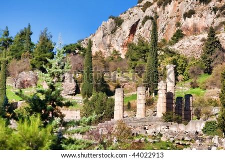 Old ruins ofTemple Of Apollo, Delphi, Greece... - stock photo