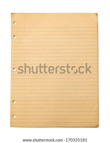 Old Ruled Paper Isolated On White/ Vintage Ruled or Lined Paper Can Be Used As Textures Or Backgrounds - stock photo
