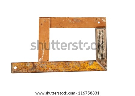 Old ruler forming frame with angle bar, set square, isolated on a white background with clipping path - stock photo