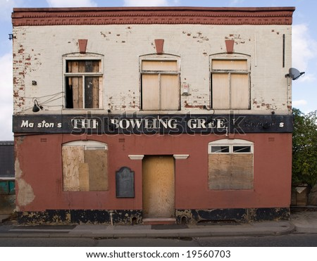 Old Run Down Abandoned Public House Pub - stock photo