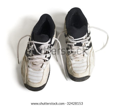 old running shoes with white background - stock photo