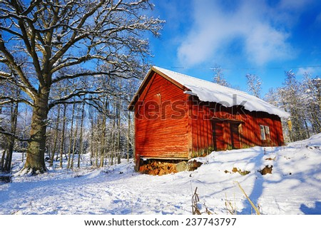 Old Rural Barn Cottage Winter And Snow Scenery From Sweden