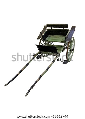 Old rural cart isolated over white background - stock photo