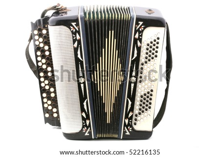 Old russian accordion closeup isolated - stock photo
