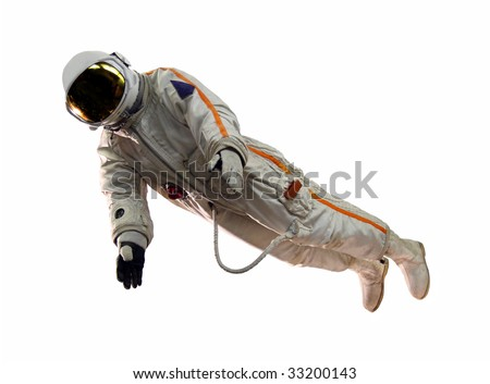old russian astronaut suit isolated on white - stock photo
