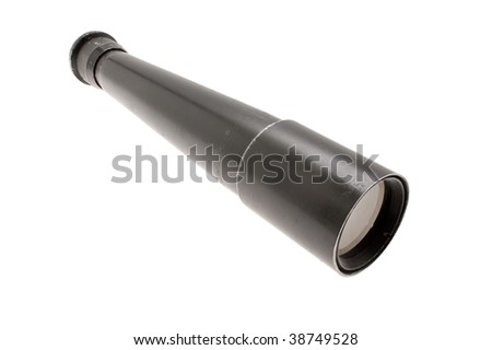 Old Russian black telescope on a white background - stock photo