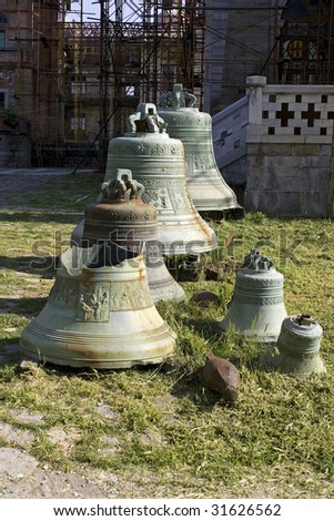 Old Russian church bells in Eremitage St. Andey, near Karyes, Athos, Greece