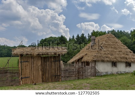 Old Russian country house (reconstruction). - stock photo