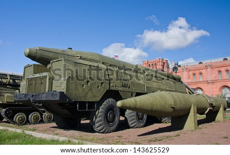 old russian SCUD missile launcher at the russian military museum at St. Petersburg