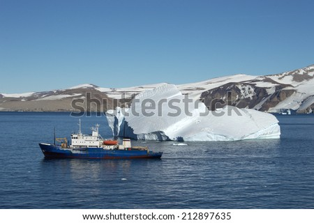 old Russian ship in the sea of Antarctic - stock photo