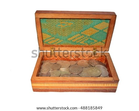 old Russian silver coins in a box