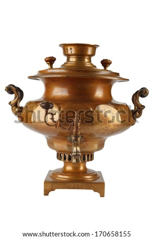 Old russian tea samovar isolated on white