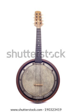 Old rusted banjo isolated the white background