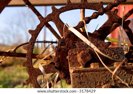 old rusted hand plow - stock photo