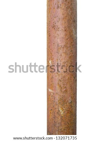 old rusted metal bar isolated over white background with space left for text - stock photo