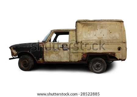 Old rusted torched car. Isolated over white - stock photo